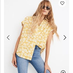 Madewell central shirt in full bloom floral yellow